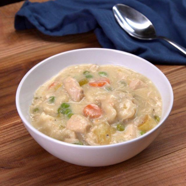 Slow Cooker Chicken & Dumplings bowl spoon