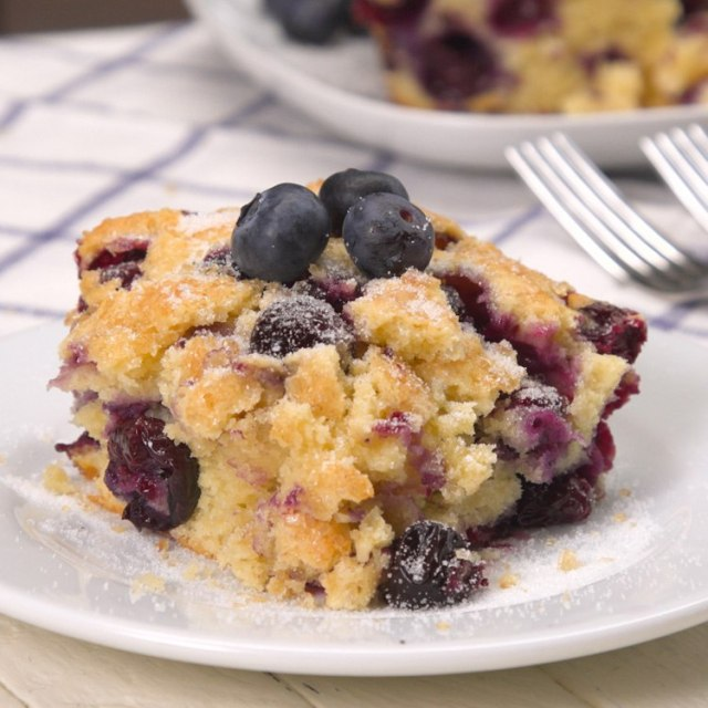 Buttermilk Blueberry Breakfast Cake plated
