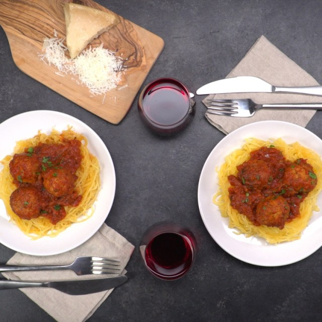 plated slow cooker spaghetti squash and meatballs with wine