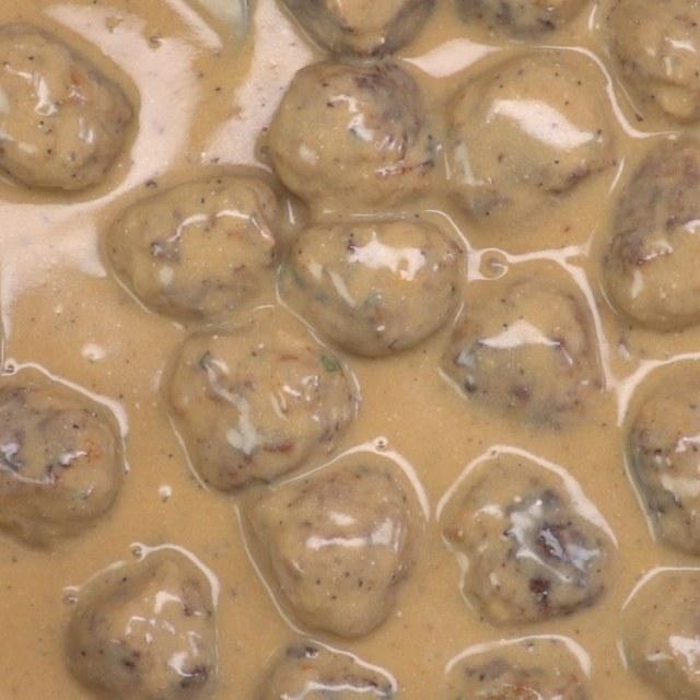 swedish meatballs close-up gravy