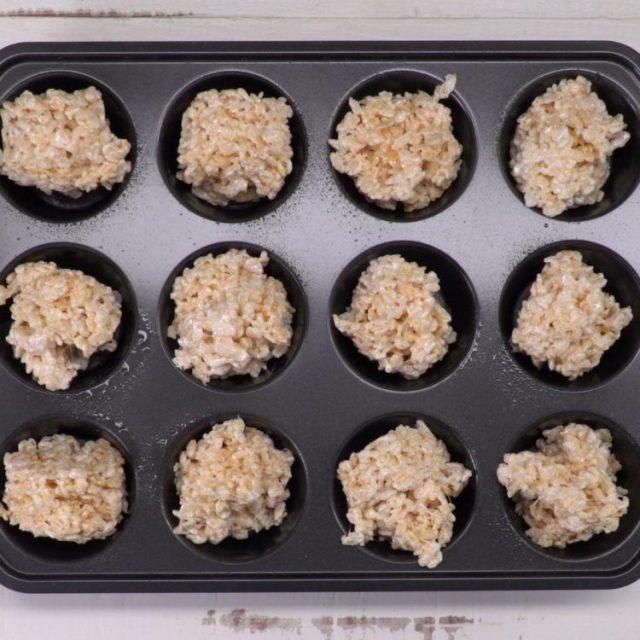 Rice Krispie Nests in muffin tin