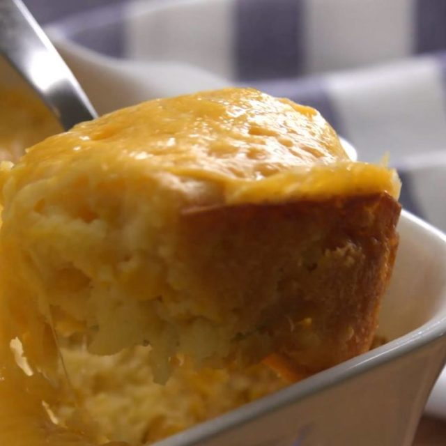 Corn Casserole scooping close-up