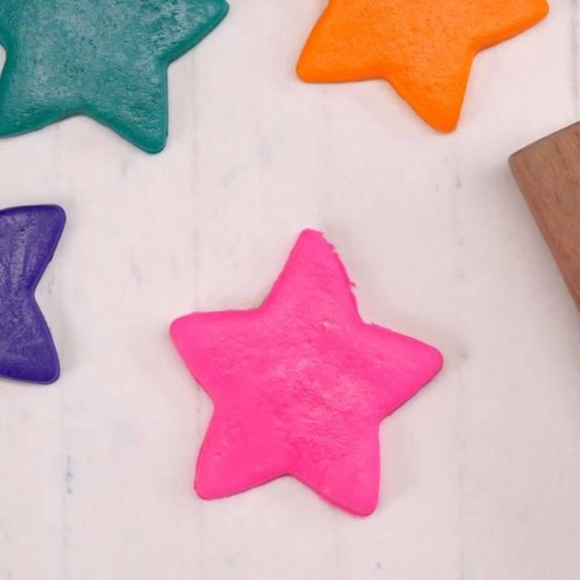 Homemade Marshmallow Playdough star cut out