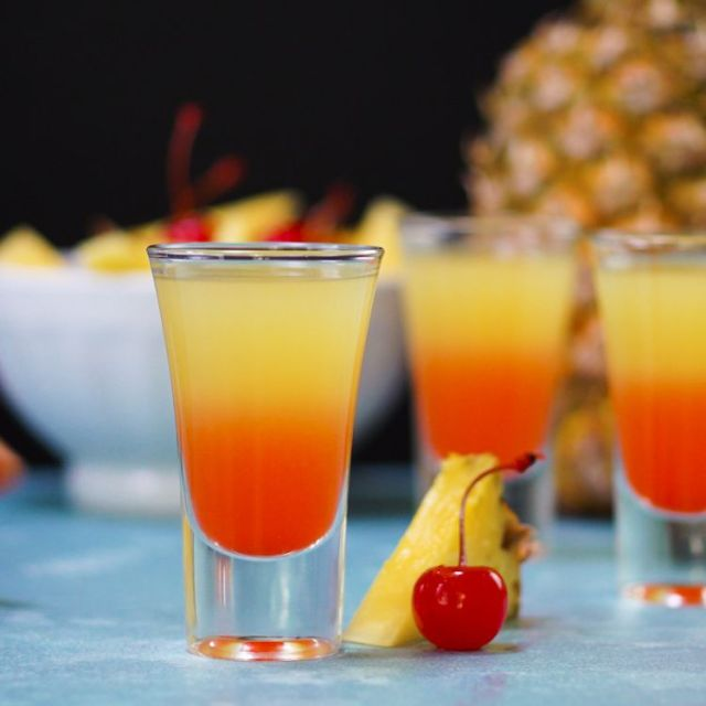 pineapple upside-down cake shot fruit