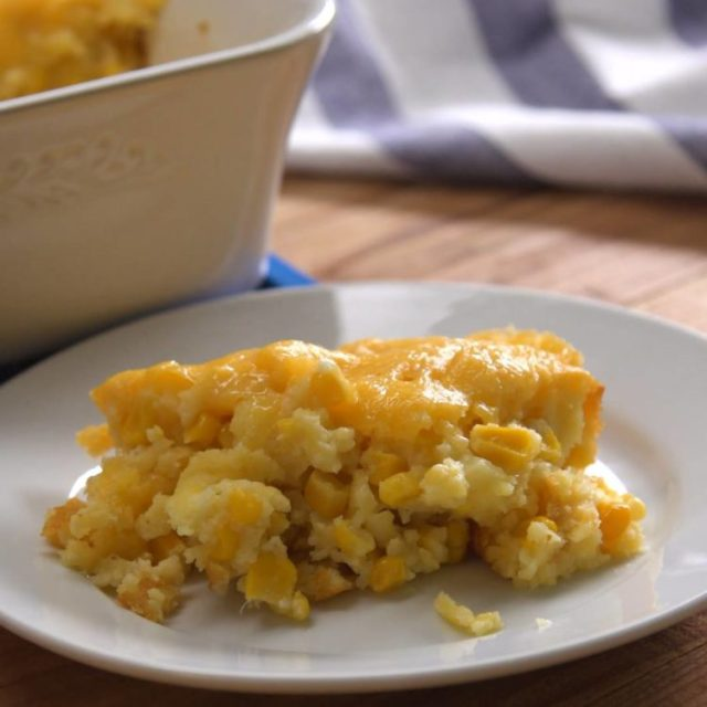 Corn Casserole plated close-up