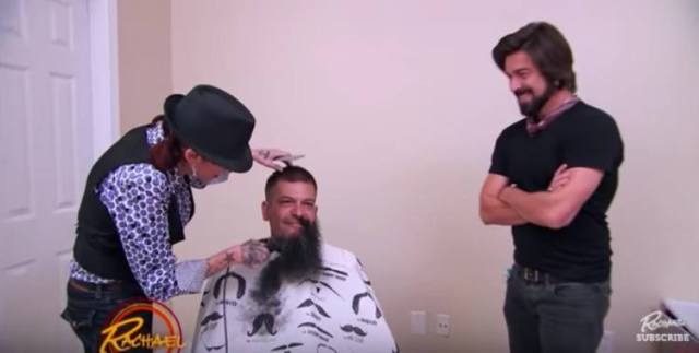stylists shave off Travis' beard
