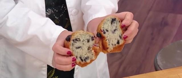 blueberry muffin split in half