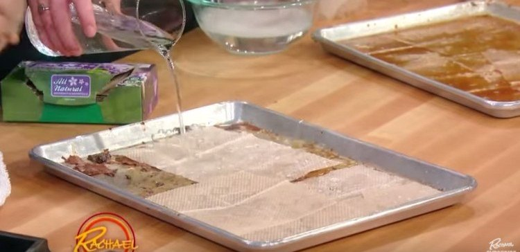 how to get burnt food off baking sheet