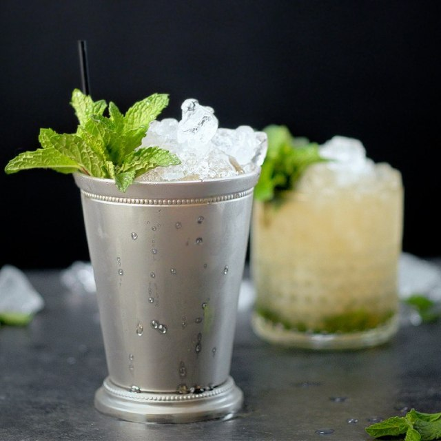 mint julep silver cup and rocks glass