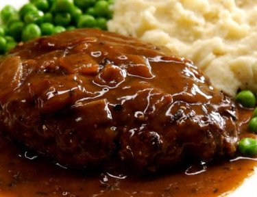 Salisbury Steak brown onion gravy peas mashed potatoes