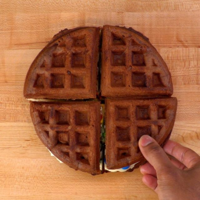 Chocolate Waffle Ice Cream Sandwich whole sandwich cut into four