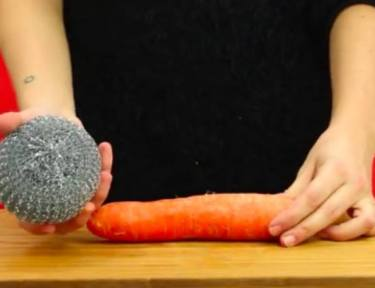 woman holding a metal scouring pad and a carrot