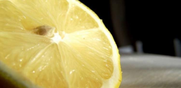 close-up of lemon half