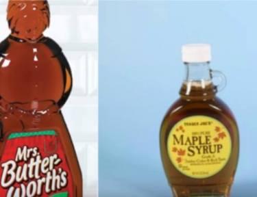 split screen of two varieties of syrup