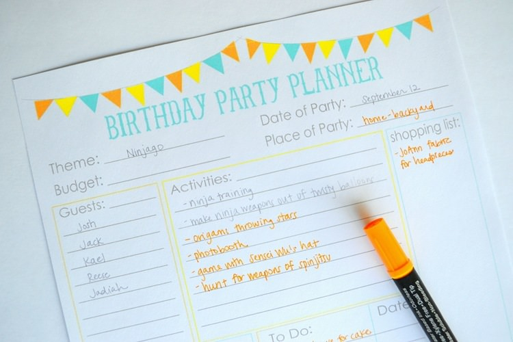 11 Free Printable Party Planner Checklists Tip Junkie - birthday planner template