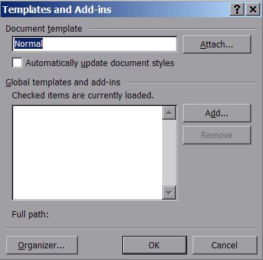Word default template