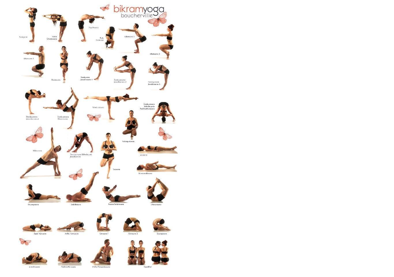 image regarding Bikram Yoga Poses Chart Printable titled Very hot Yoga Pose Chart