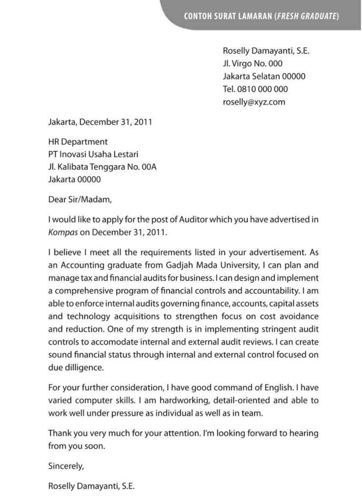 Contoh Surat Lamaran Kerja Bahasa Inggris Customer Service