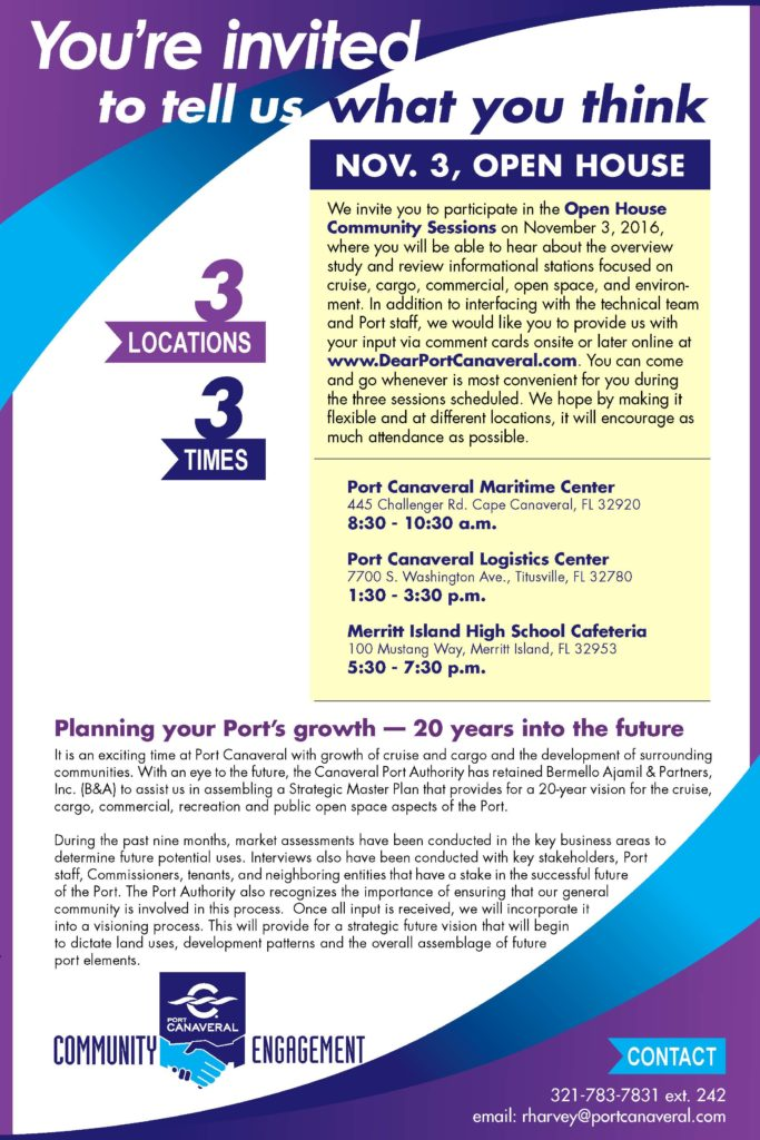 Community Input Sessions on Port Canaveral Strategic Plan