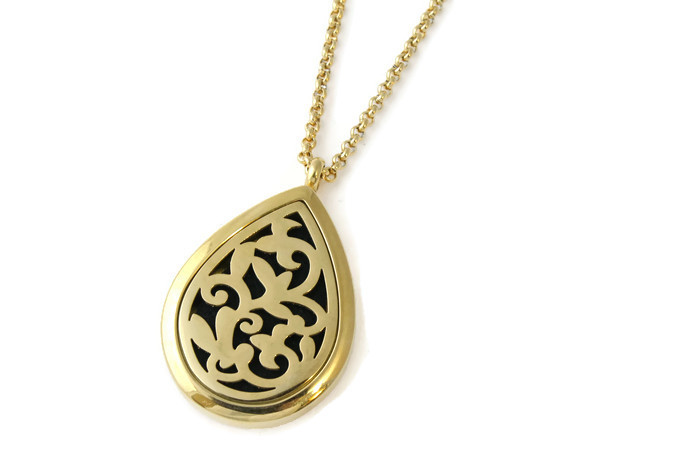 Teardrop Aromatherapy Diffuser Necklace Gold Tje Design