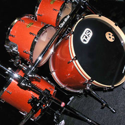 TJS Custom Drums Orange Drumset_home