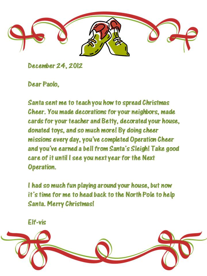 Goodbye Letter From Elf A Christmas Elf Letter From Santa Elf Crazy ...
