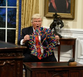 "SATURDAY NIGHT LIVE -- ""Kristen Stewart"" Episode 1717 -- Pictured: Alec Baldwin as President Donald J. Trump during the Oval Office Cold Open on February 4th, 2017 -- (Photo by: Will Heath/NBC)"