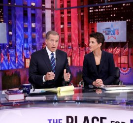 "MSNBC - ELECTION COVERAGE -- Election Night 2016 -- Pictured: (l-r) Brian Williams, Anchor, ""The 11th Hour with Brian Williams"" and Rachel Maddow, Host, ""The Rachel Maddow Show"" on Tuesday, November 8, 2016 from New York -- (Photo by: Heidi Gutman/MSNBC)"