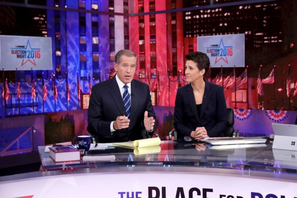"""MSNBC - ELECTION COVERAGE -- Election Night 2016 -- Pictured: (l-r) Brian Williams, Anchor, """"The 11th Hour with Brian Williams"""" and Rachel Maddow, Host, """"The Rachel Maddow Show"""" on Tuesday, November 8, 2016 from New York -- (Photo by: Heidi Gutman/MSNBC)"""