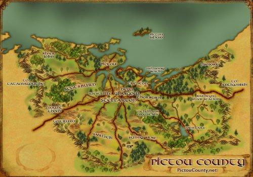Custom graphic map of Pictou County, Nova Scotia
