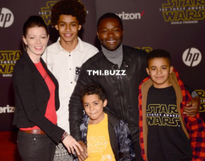 Daivd Oyelowo, wife Jessica and kids arrive at the Premiere Of Walt Disney Pictures And Lucasfilm's 'Star Wars: The Force Awakens' on December 14, 2015 in Hollywood, California.