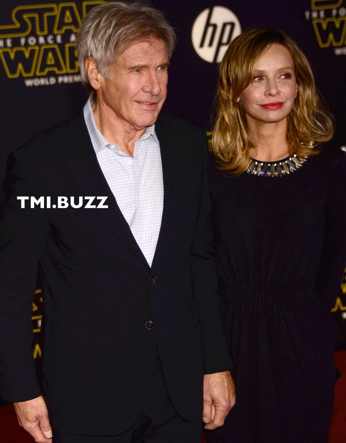 Harrison Ford and Calista Flockhart arrive at the Premiere Of Walt Disney Pictures And Lucasfilm's 'Star Wars: The Force Awakens' on December 14, 2015 in Hollywood, California.