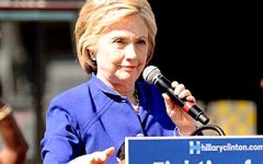 Hillary Clinton gives a speech to California voters in Leimert Park in Los Angeles, Ca on the eve of the California Primary  Picture by: London Entertainment/Splash   Ref: LETG 060616 A  Splash News and Pictures Los Angeles: 310-821-2666 New York: 212-619-2666 London: 207-107-2666 photodesk@splashnews.com www.splashnews.com