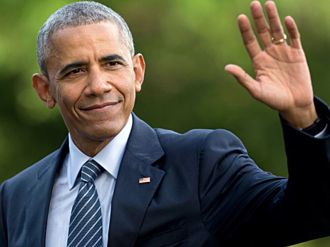 FILE - In this July 5, 2016 photo, President Barack Obama waves as he walks across the South Lawn of the White House, in Washington, as he returns from Charlotte, N.C. where he participated in a campaign event with Democratic presidential candidate Hillary Clinton. Obama is interrupting his summer vacation to do some campaigning for Hillary Clinton, the Democratic presidential nominee. Obama is slated to headline a Democratic Party reception Monday, Aug. 15, 2016, on Martha's Vineyard, the tony Massachusetts island where he's been vacationing with his family. (AP Photo/Carolyn Kaster, File)