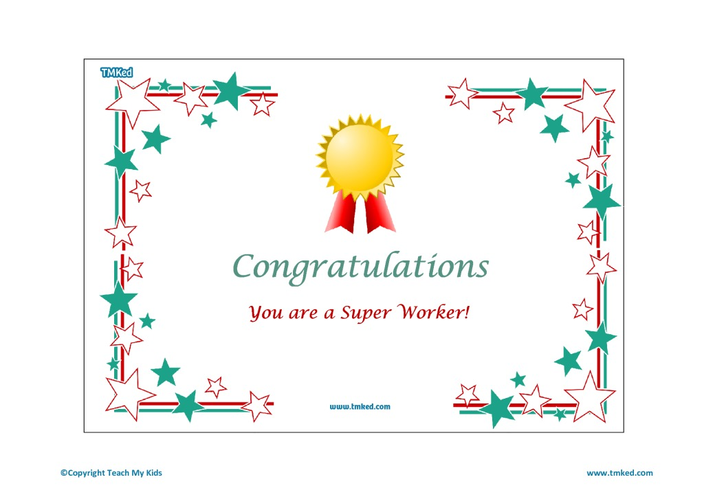Congratulations, Super Worker Certificate - TMK Education - congratulations certificate