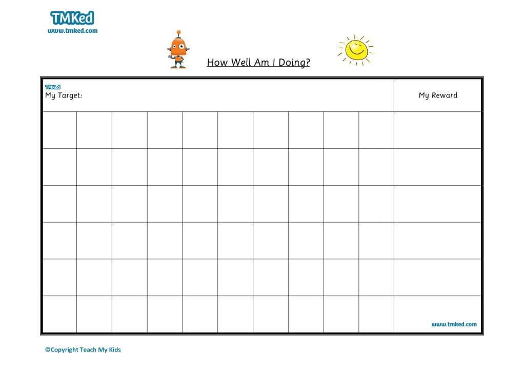 Sticker / Reward Chart 1 - TMK Education - sticker chart