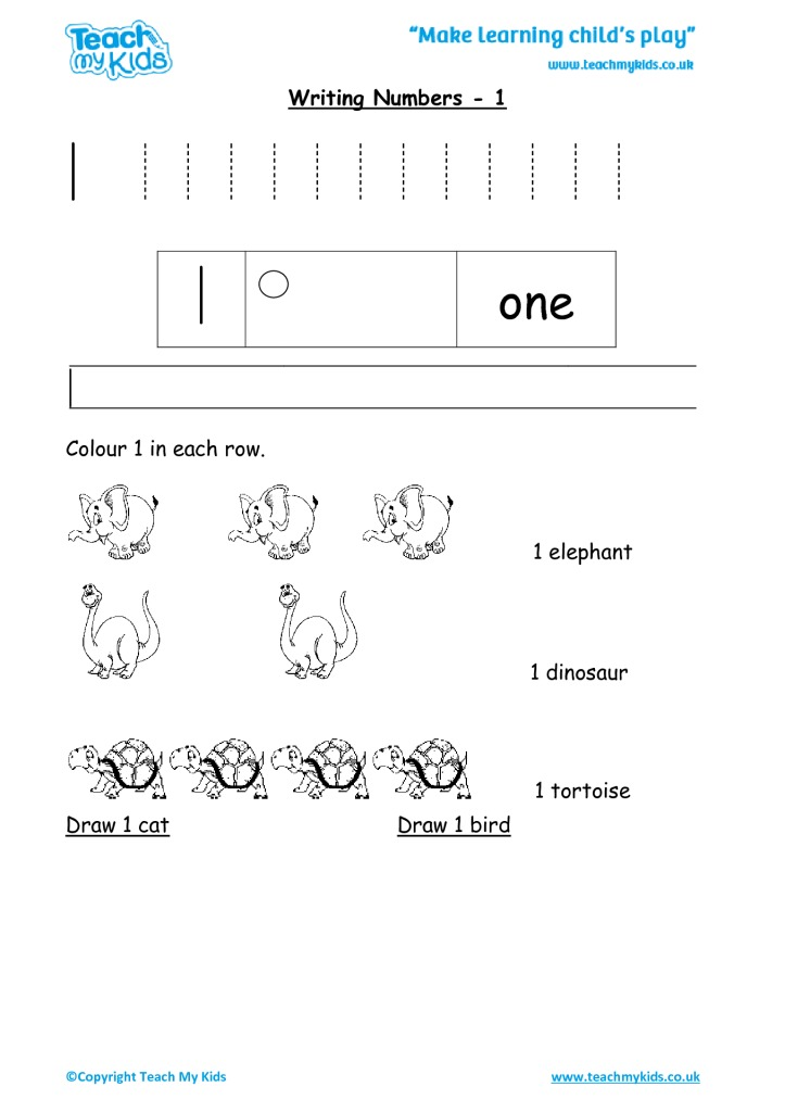 Practise Writing Numbers - 1 - TMK Education - Numbers In Writing