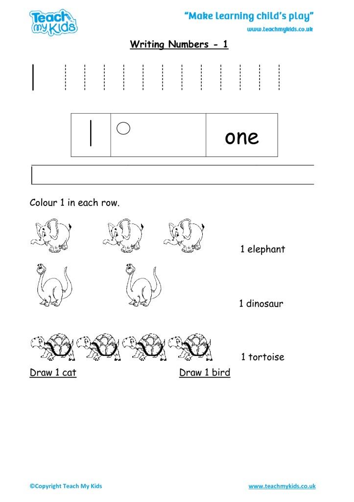 Practise Writing Numbers - 1 - TMK Education - Numbers In Writing
