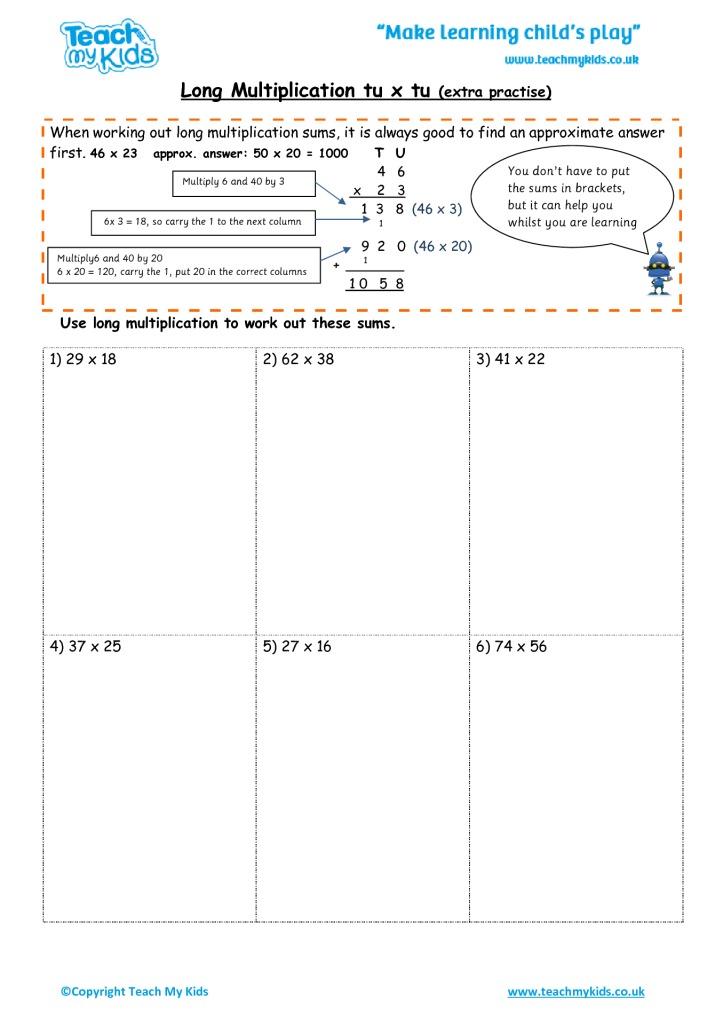 Long Multiplication tu x tu (extra practise) - TMK Education - long multiplication worksheets