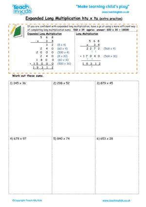 Multiplication Worksheet Tu X Tu - Kidz Activities - long multiplication worksheets