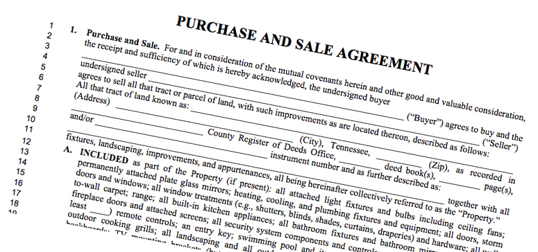CHANGES to Purchase  Sale Agreement* - TN REALTORS® - purchase and sales agreement