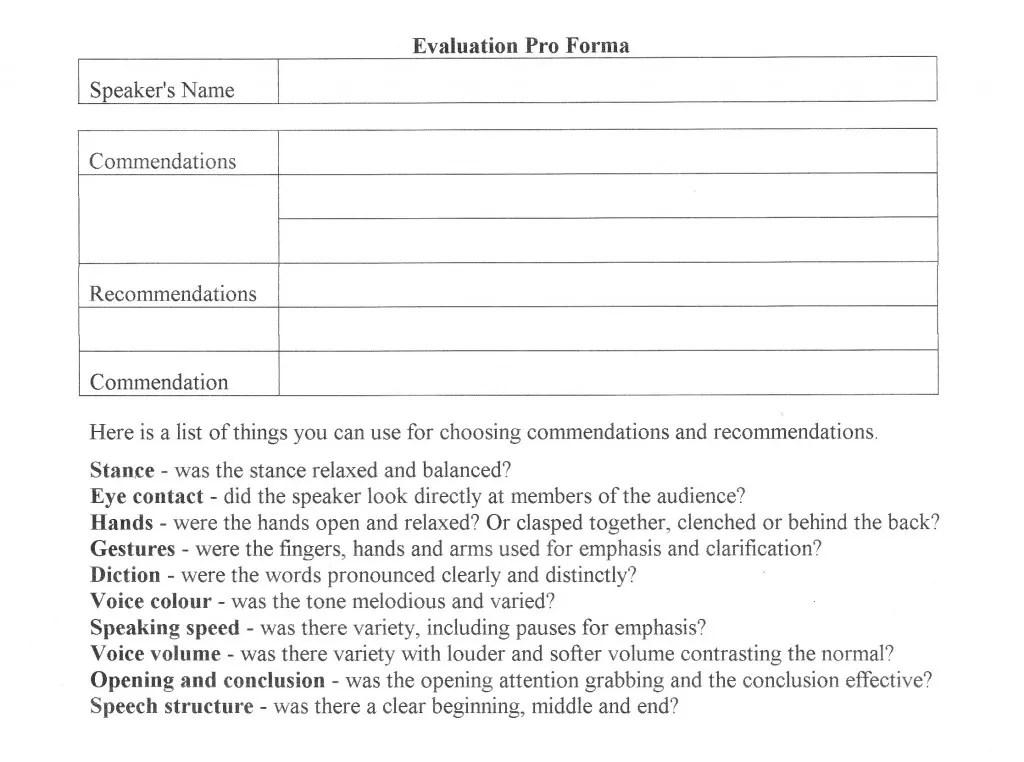 Impromptu Speech Template Sample Impromptu Speech Template 100 Free - tribute speech examplestraining evaluation form