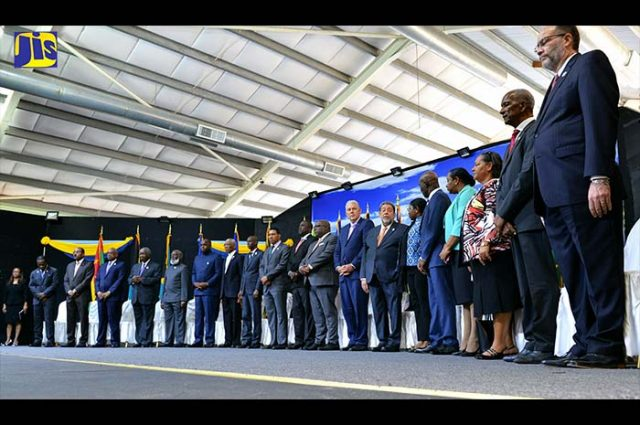 Prime Minister, the Most Hon. Andrew Holness (10th left) and other regional leaders at the opening ceremony of the 38th Regular Meeting of Heads of Government of CARICOM at the Grenada Trade Centre, Grand Anse, St. George's, on July 4. (Photo via JIS)