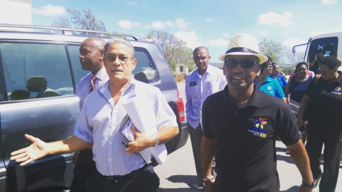 Minister of Culture, Stephen Lashley, and Consultant Architect for the CARIFESTA XIII renovations and building projects, Michael Lashley, lead the tour of several CARIFESTA XIII locations. (Photo by Weekes via BGIS)