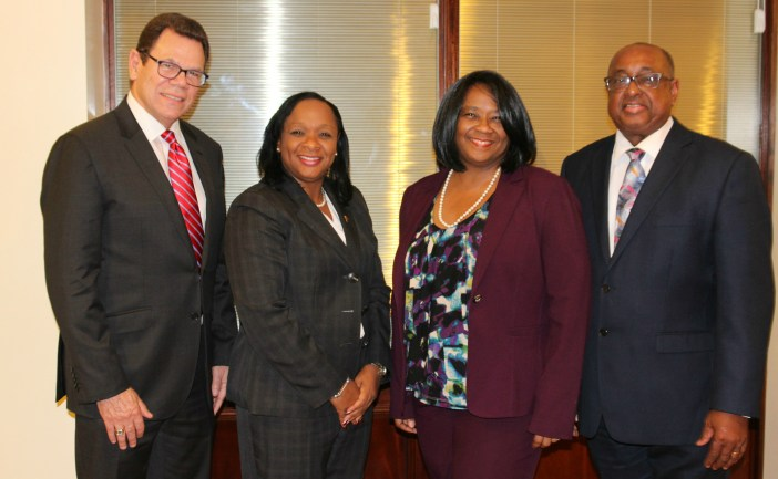 The CDB delegation during an official visit to the Premier of Turks and Caicos Islands on February 3, 2017. From left to right: Dr. William Warren Smith, President, CDB; Hon. Sharlene Cartwright Robinson, Premier, Turks and Caicos Islands; Yvette Lemonias-Seale, Vice-President (Corporate Services) and Bank Secretary, CDB; and Volville Forsythe, Assistant Bank Secretary, CDB. (Photo via CDB)