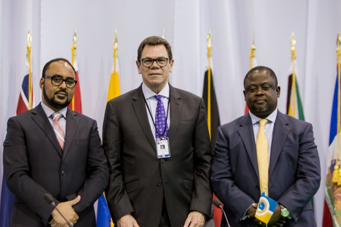 From left: Anthony Isaac, CEO, CCRIF SPC; Dr. William Warren Smith, President, CDB and Malcolm Buamah, Chief Risk Officer, CDB after launching the Integrated Sovereign Risk Management in the Caribbean Project in Providenciales on May 25, 2017. (Photo via CDB)