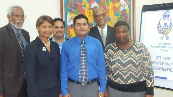 From left: Mr. Selby Wilson, CTU Telecommunications Strategist, Ms. Bernadette Lewis, Secretary General of the CTU, Mr. Bryan Rodrigues and Mr. Kerryn Gunness, deaf and partially blind facilitators of the CTU's ICT for People with Disabilities (ICT4PWDs) Workshops, Mr. Trevor Prevatt, CTU Consultant, and Ms. Kimone Elvin, Deaf participant.