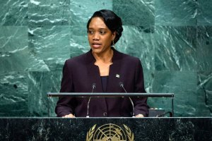 Foreign Minister Francine Baron of Dominica (Photo via UN/Manuel Elias)