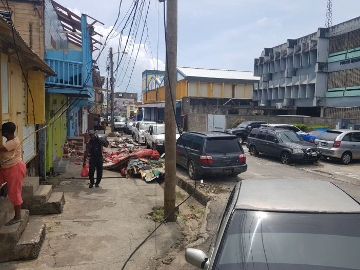 Dominica Hurricane Maria damage downtown buildings (OECS)