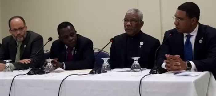 Prime Minister of Grenada, Dr. the Rt. Hon. Keith Mitchell  (second from left) announcing the approval of the ICT Integrated Work Plan and Budget. Also in photograph are, from left, CARICOM Secretary-General, Ambassador Irwin LaRocque, President of Guyana, His Excellency David Granger and Prime Minister of Jamaica, the Hon. Andrew Holness